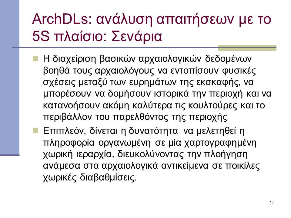 12 ArchDLs: ανάλυση απαιτήσεων με το 5S πλαίσιο: Σενάρια Η διαχείριση βασικών αρχαιολογικών δεδομένων βοηθά τους αρχαιολόγους να εντοπίσουν φυσικές σχέσεις μεταξύ των ευρημάτων της εκσκαφής, να μπορέσουν να δομήσουν ιστορικά την περιοχή και να κατανοήσουν ακόμη καλύτερα τις κουλτούρες και το περιβάλλον του παρελθόντος της περιοχής Επιπλεόν, δίνεται η δυνατότητα να μελετηθεί η πληροφορία οργανωμένη σε μία χαρτογραφημένη χωρική ιεραρχία, διευκολύνοντας την πλοήγηση ανάμεσα στα αρχαιολογικά αντικείμενα σε ποικίλες χωρικές διαβαθμίσεις.