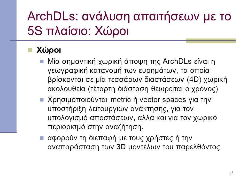 13 ArchDLs: ανάλυση απαιτήσεων με το 5S πλαίσιο: Χώροι Χώροι Μία σημαντική χωρική άποψη της ArchDLs είναι η γεωγραφική κατανομή των ευρημάτων, τα οποία βρίσκονται σε μία τεσσάρων διαστάσεων (4D) χωρική ακολουθεία (τέταρτη διάσταση θεωρείται ο χρόνος) Χρησιμοποιούνται metric ή vector spaces για την υποστήριξη λειτουργιών ανάκτησης, για τον υπολογισμό αποστάσεων, αλλά και για τον χωρικό περιορισμό στην αναζήτηση.