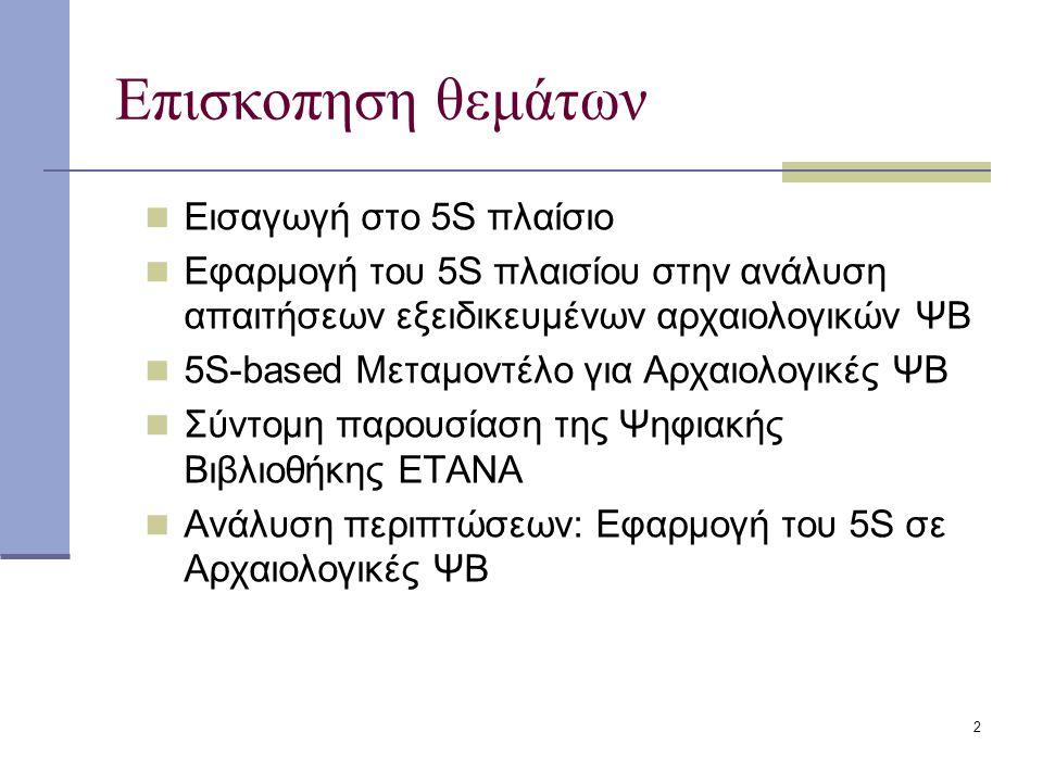 2 Επισκοπηση θεμάτων Εισαγωγή στο 5S πλαίσιο Εφαρμογή του 5S πλαισίου στην ανάλυση απαιτήσεων εξειδικευμένων αρχαιολογικών ΨΒ 5S-based Μεταμοντέλο για Αρχαιολογικές ΨΒ Σύντομη παρουσίαση της Ψηφιακής Βιβλιοθήκης ETANA Ανάλυση περιπτώσεων: Εφαρμογή του 5S σε Αρχαιολογικές ΨΒ