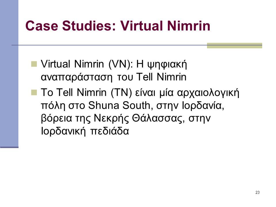 23 Case Studies: Virtual Nimrin Virtual Nimrin (VN): Η ψηφιακή αναπαράσταση του Tell Nimrin Το Tell Nimrin (TN) είναι μία αρχαιολογική πόλη στο Shuna South, στην Ιορδανία, βόρεια της Νεκρής Θάλασσας, στην Ιορδανική πεδιάδα