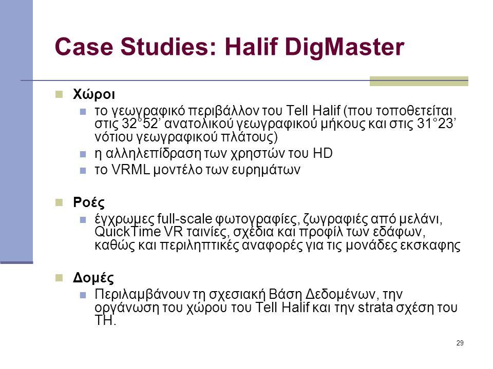 29 Case Studies: Halif DigMaster Χώροι το γεωγραφικό περιβάλλον του Tell Halif (που τοποθετείται στις 32°52' ανατολικού γεωγραφικού μήκους και στις 31°23' νότιου γεωγραφικού πλάτους) η αλληλεπίδραση των χρηστών του HD το VRML μοντέλο των ευρημάτων Ροές έγχρωμες full-scale φωτογραφίες, ζωγραφιές από μελάνι, QuickTime VR ταινίες, σχέδια και προφίλ των εδάφων, καθώς και περιληπτικές αναφορές για τις μονάδες εκσκαφης Δομές Περιλαμβάνουν τη σχεσιακή Βάση Δεδομένων, την οργάνωση του χώρου του Tell Halif και την strata σχέση του TH.