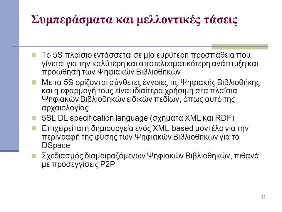 33 Συμπεράσματα και μελλοντικές τάσεις Το 5S πλαίσιο εντάσσεται σε μία ευρύτερη προσπάθεια που γίνεται για την καλύτερη και αποτελεσματικότερη ανάπτυξη και προώθηση των Ψηφιακών Βιβλιοθηκών Με τα 5S ορίζονται σύνθετες έννοιες τις Ψηφιακής Βιβλιοθήκης και η εφαρμογή τους είναι ιδιαίτερα χρήσιμη στα πλαίσια Ψηφιακών Βιβλιοθηκών ειδικών πεδίων, όπως αυτό της αρχαιολογίας 5SL DL specification language (σχήματα XML και RDF) Επιχειρείται η δημιουργεία ενός XML-based μοντέλο για την περιγραφή της φύσης των Ψηφιακών Βιβλιοθηκών για το DSpace Σχεδιασμός διαμοιραζόμενων Ψηφιακών Βιβλιοθηκών, πιθανά με προσεγγίσεις P2P