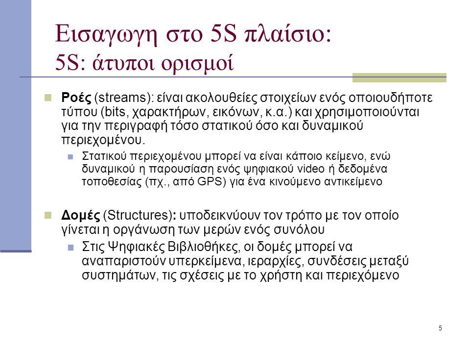 5 Εισαγωγη στο 5S πλαίσιο: 5S: άτυποι ορισμοί Ροές (streams): είναι ακολουθείες στοιχείων ενός οποιουδήποτε τύπου (bits, χαρακτήρων, εικόνων, κ.α.) και χρησιμοποιούνται για την περιγραφή τόσο στατικού όσο και δυναμικού περιεχομένου.