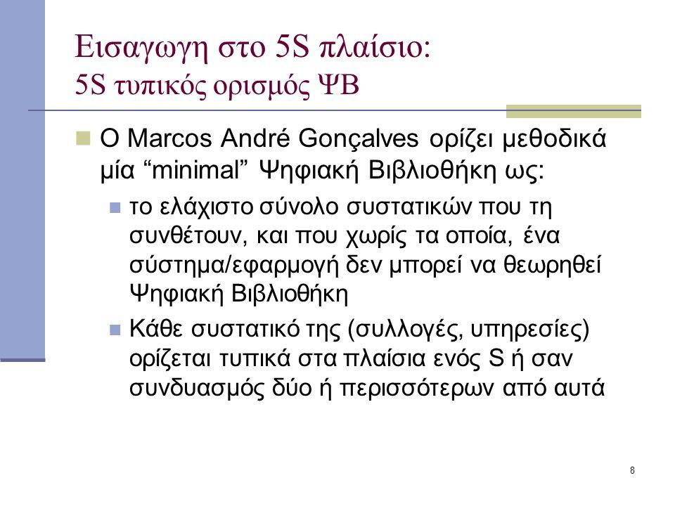 8 Εισαγωγη στο 5S πλαίσιο: 5S τυπικός ορισμός ΨΒ Ο Marcos André Gonçalves ορίζει μεθοδικά μία minimal Ψηφιακή Βιβλιοθήκη ως: το ελάχιστο σύνολο συστατικών που τη συνθέτουν, και που χωρίς τα οποία, ένα σύστημα/εφαρμογή δεν μπορεί να θεωρηθεί Ψηφιακή Βιβλιοθήκη Κάθε συστατικό της (συλλογές, υπηρεσίες) ορίζεται τυπικά στα πλαίσια ενός S ή σαν συνδυασμός δύο ή περισσότερων από αυτά