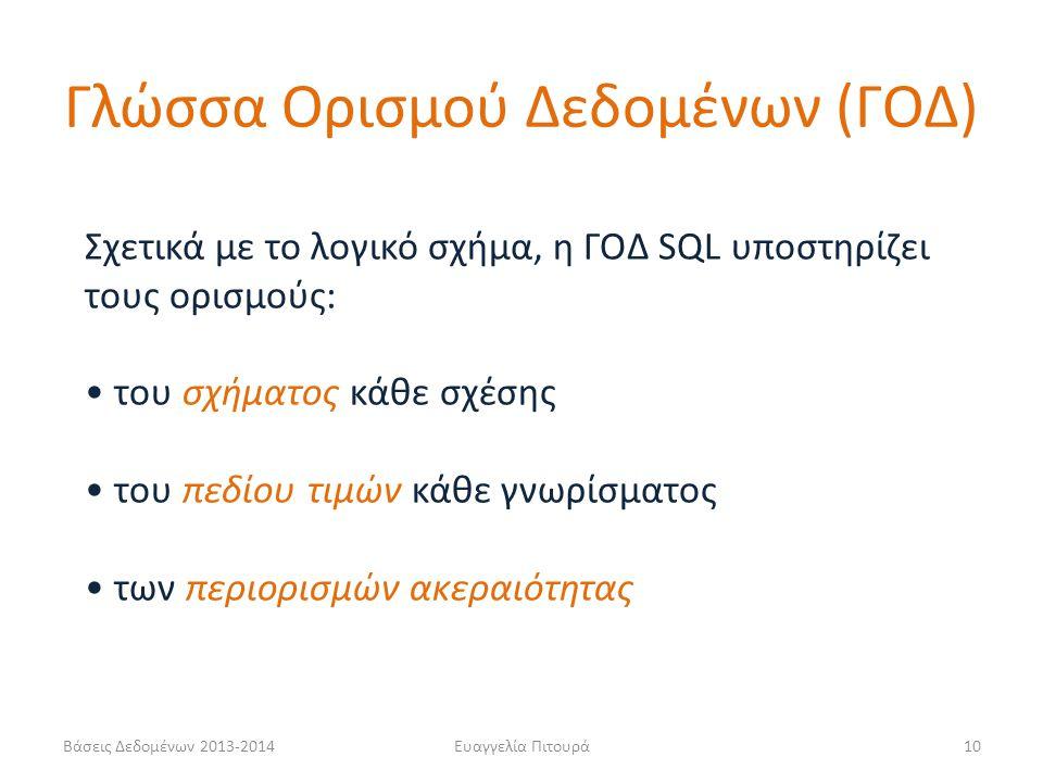 Βάσεις Δεδομένων 2013-2014Ευαγγελία Πιτουρά10 Σχετικά με το λογικό σχήμα, η ΓΟΔ SQL υποστηρίζει τους ορισμούς: του σχήματος κάθε σχέσης του πεδίου τιμ