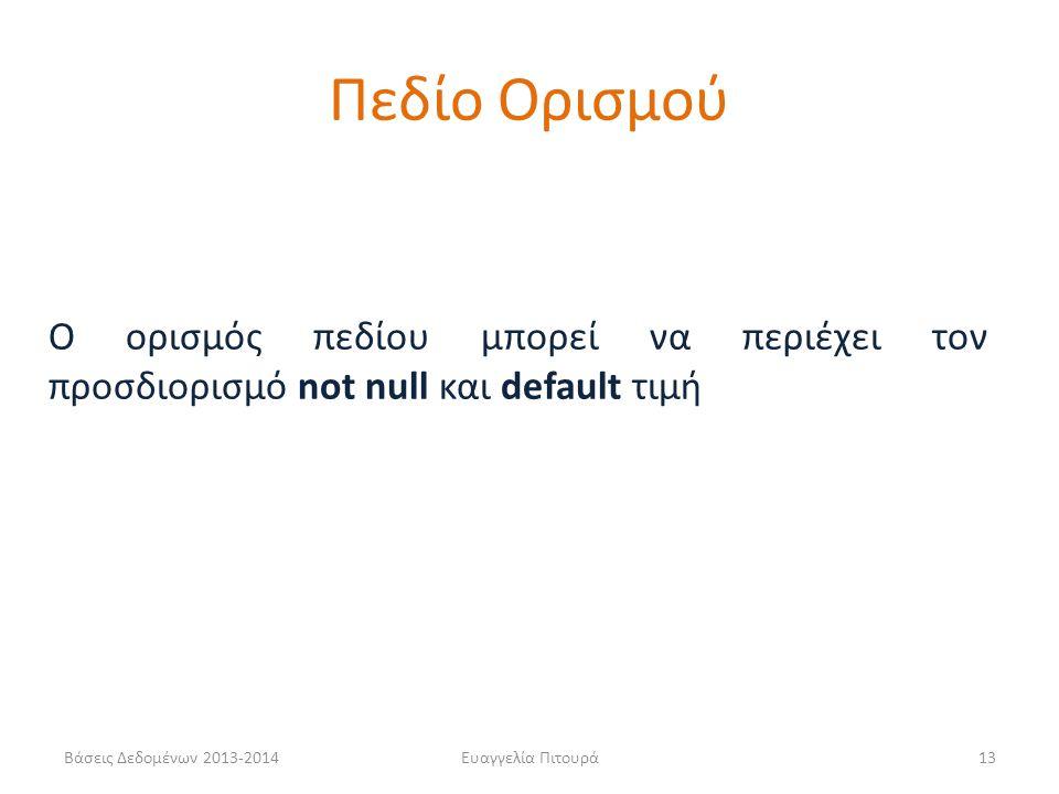 Βάσεις Δεδομένων 2013-2014Ευαγγελία Πιτουρά13 Ο ορισμός πεδίου μπορεί να περιέχει τον προσδιορισμό not null και default τιμή Πεδίο Ορισμού