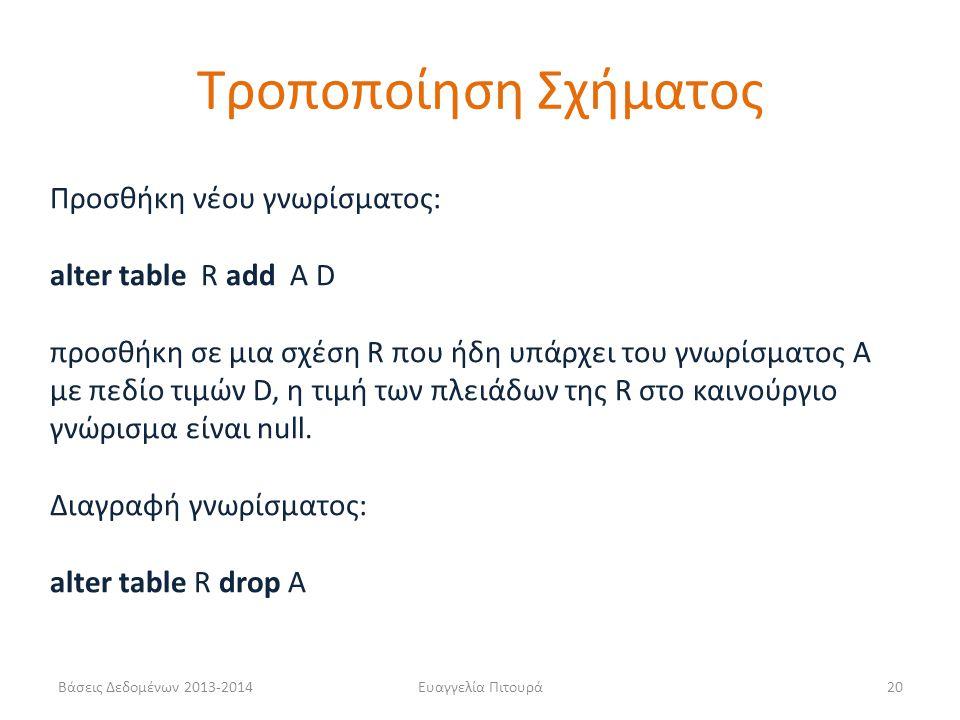 Βάσεις Δεδομένων 2013-2014Ευαγγελία Πιτουρά20 Προσθήκη νέου γνωρίσματος: alter table R add A D προσθήκη σε μια σχέση R που ήδη υπάρχει του γνωρίσματος