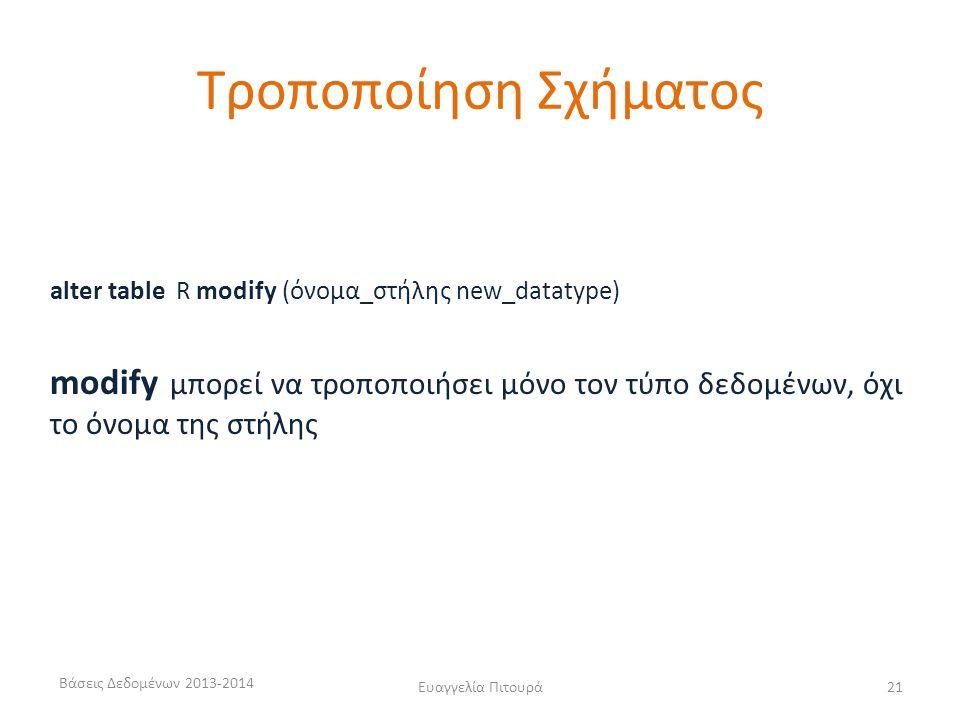 Βάσεις Δεδομένων 2013-2014 Ευαγγελία Πιτουρά21 alter table R modify (όνομα_στήλης new_datatype) modify μπορεί να τροποποιήσει μόνο τον τύπο δεδομένων,