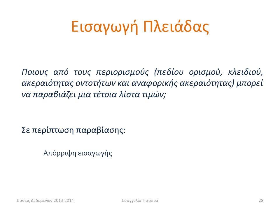 Βάσεις Δεδομένων 2013-2014Ευαγγελία Πιτουρά28 Ποιους από τους περιορισμούς (πεδίου ορισμού, κλειδιού, ακεραιότητας οντοτήτων και αναφορικής ακεραιότητ