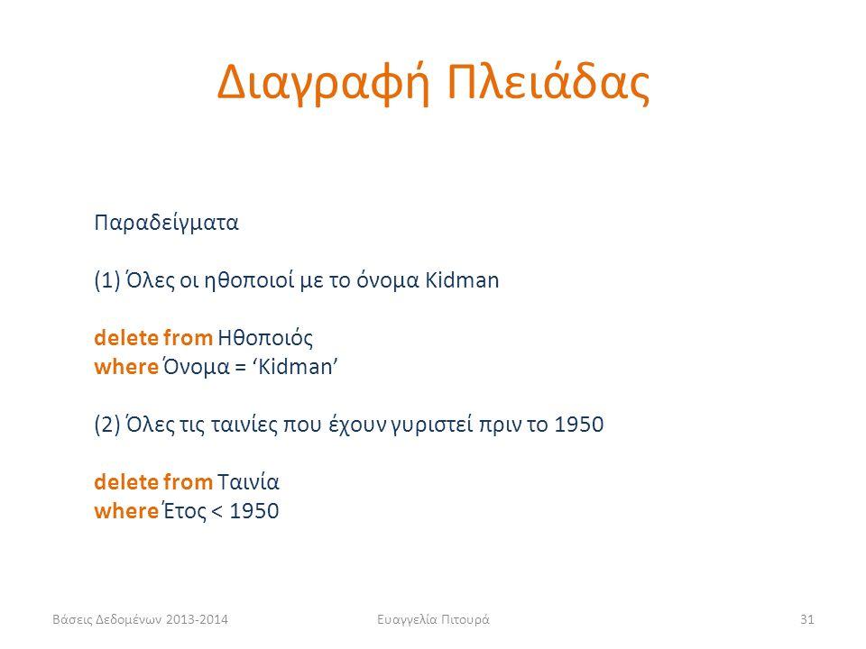 Βάσεις Δεδομένων 2013-2014Ευαγγελία Πιτουρά31 Παραδείγματα (1) Όλες οι ηθοποιοί με το όνομα Kidman delete from Ηθοποιός where Όνομα = 'Kidman' (2) Όλε