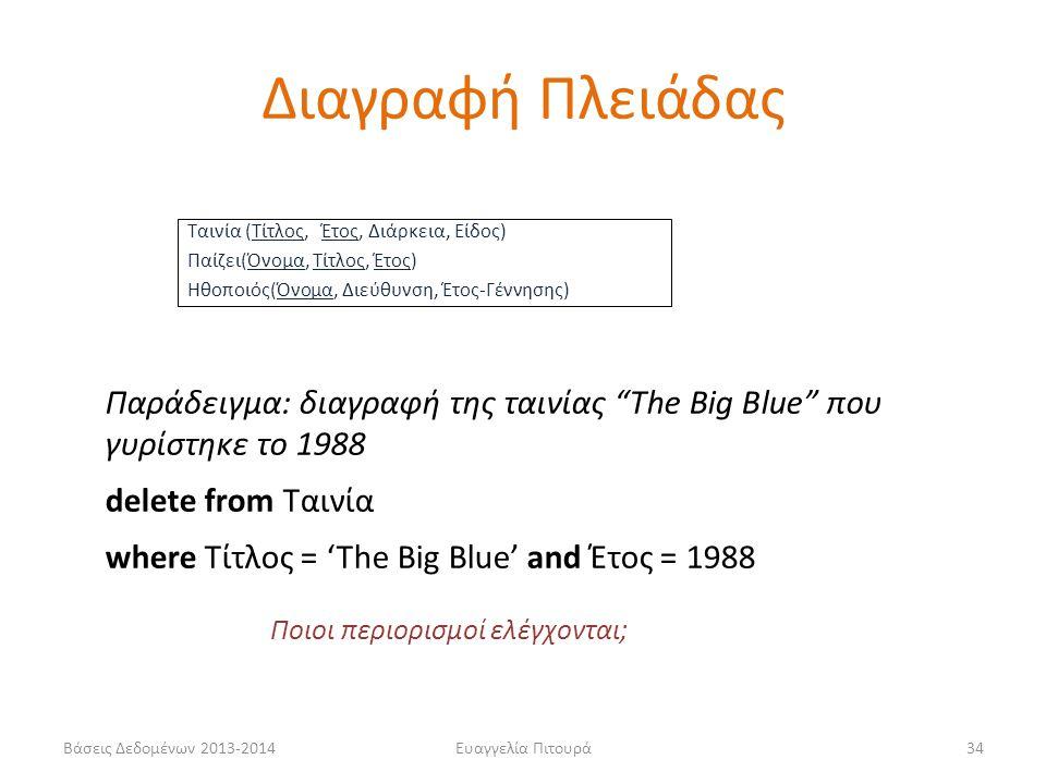 """Βάσεις Δεδομένων 2013-2014Ευαγγελία Πιτουρά34 Παράδειγμα: διαγραφή της ταινίας """"The Big Blue"""" που γυρίστηκε το 1988 delete from Ταινία where Τίτλος ="""