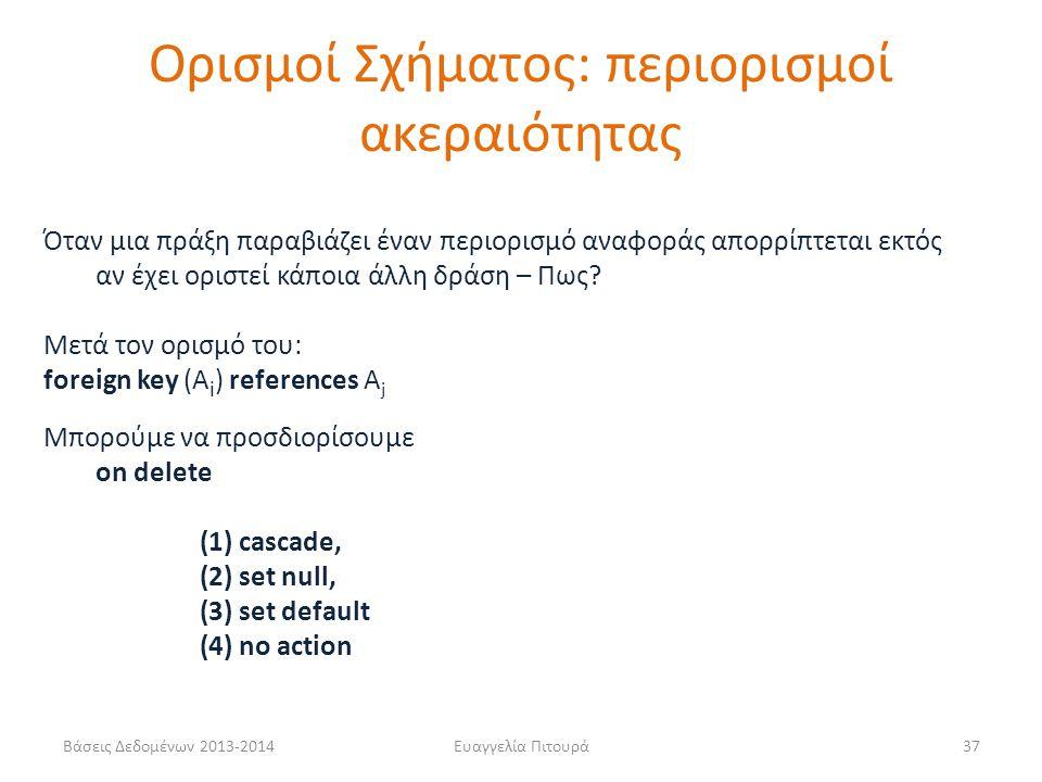 Βάσεις Δεδομένων 2013-2014Ευαγγελία Πιτουρά37 Όταν μια πράξη παραβιάζει έναν περιορισμό αναφοράς απορρίπτεται εκτός αν έχει οριστεί κάποια άλλη δράση