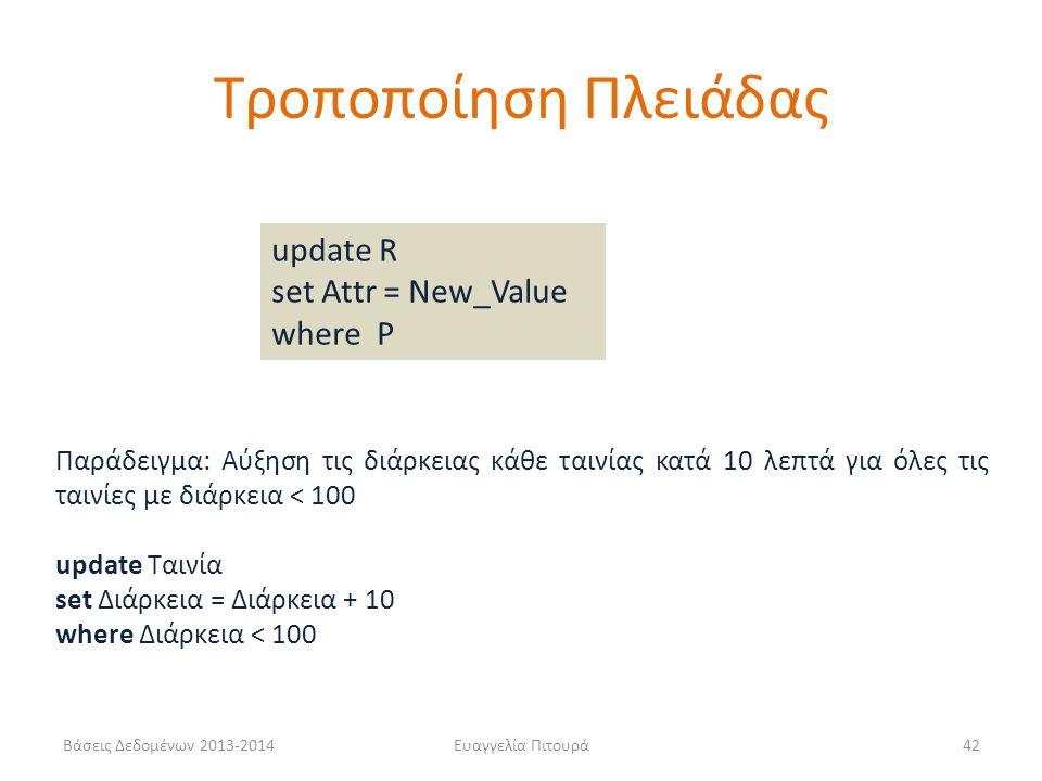 Βάσεις Δεδομένων 2013-2014Ευαγγελία Πιτουρά42 Παράδειγμα: Αύξηση τις διάρκειας κάθε ταινίας κατά 10 λεπτά για όλες τις ταινίες με διάρκεια < 100 updat