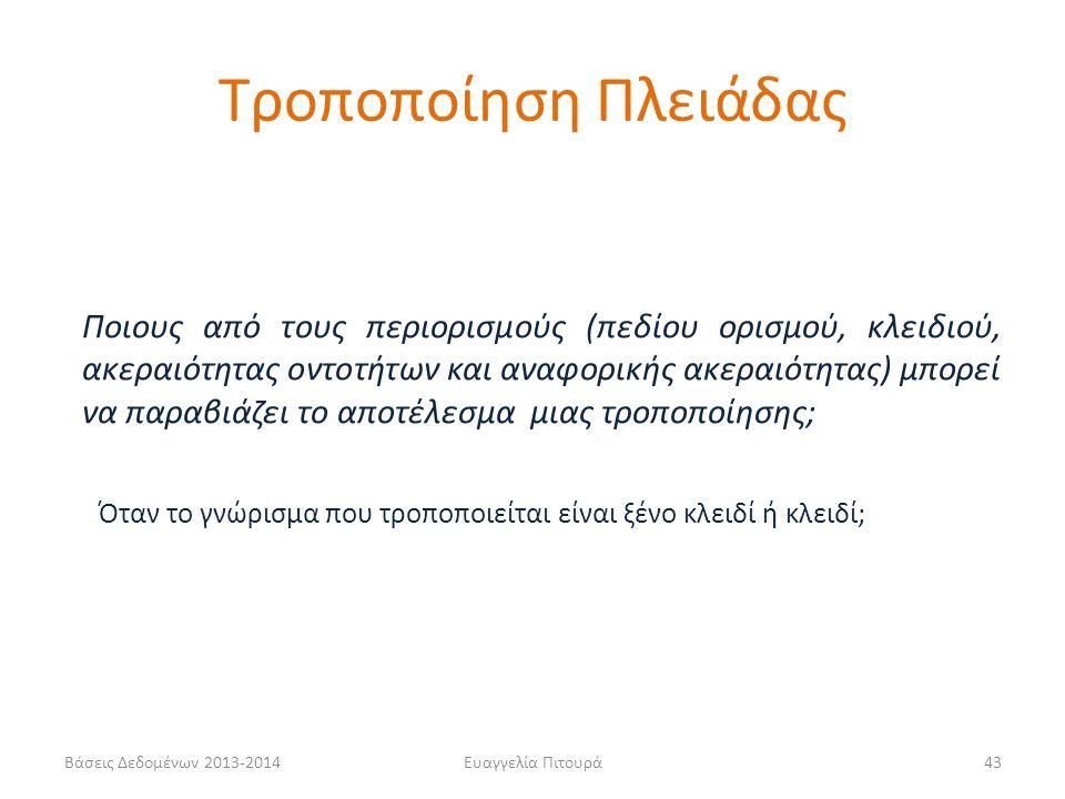 Βάσεις Δεδομένων 2013-2014Ευαγγελία Πιτουρά43 Ποιους από τους περιορισμούς (πεδίου ορισμού, κλειδιού, ακεραιότητας οντοτήτων και αναφορικής ακεραιότητ