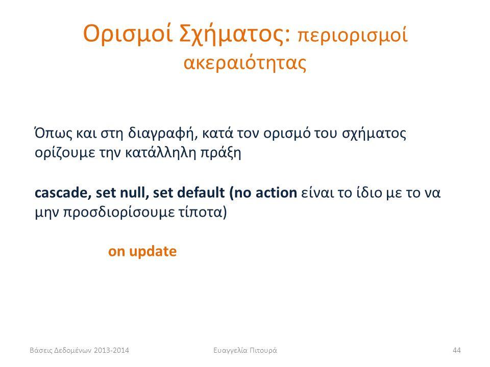 Βάσεις Δεδομένων 2013-2014Ευαγγελία Πιτουρά44 cascade, set null, set default (no action είναι το ίδιο με το να μην προσδιορίσουμε τίποτα) on update Όπ