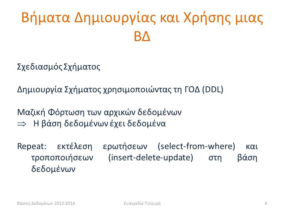 Βάσεις Δεδομένων 2013-2014Ευαγγελία Πιτουρά17 Παράδειγμα CREATE TABLE Ταινία (Τίτλος varchar(20) not null, Έτος int not null, Διάρκεια int, Είδος varchar(20), primary key (Τίτλος, Έτος)); CREATE TABLE Ηθοποιός (Όνομα varchar(20) not null, Διεύθυνση varchar(15), Έτος-Γέννησης int, primary key (Όνομα), check (Έτος-Γέννησης >= 1800)); CREATE TABLE Παίζει (Όνομα varchar(20) not null, Τίτλος varchar(20) not null, Έτος int not null, primary key (Όνομα, Τίτλος, Έτος), foreign key (Όνομα) references Ηθοποιός(Όνομα), foreign key (Τίτλος, Έτος) references Ταινία(Τίτλος, Έτος); Πεδίο Ορισμού Ορισμός ξένου κλειδιού Προφανώς, ο ορισμός του πίνακα στον οποίο αναφέρεται, πρέπει να προηγείται