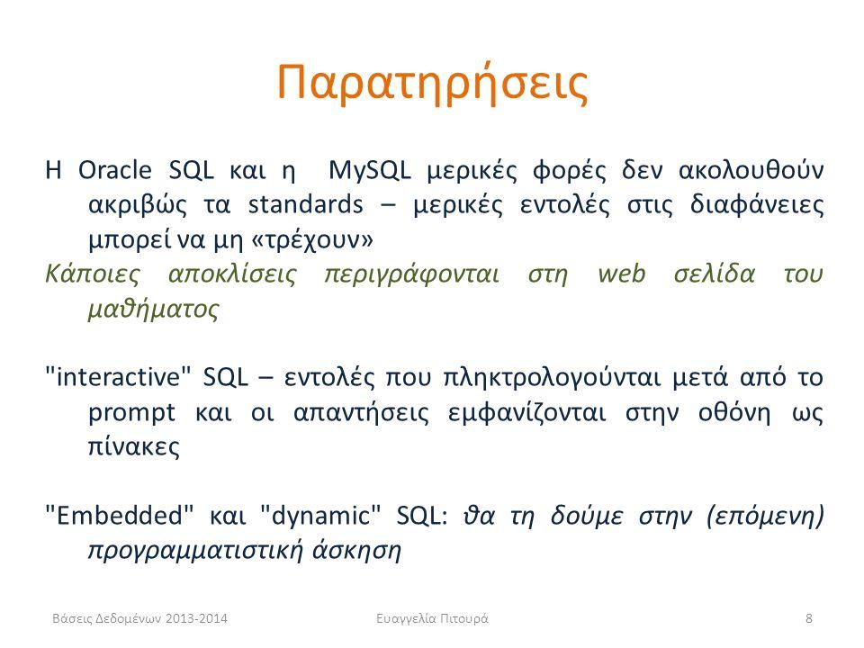 Βάσεις Δεδομένων 2013-2014Ευαγγελία Πιτουρά8 Η Oracle SQL και η MySQL μερικές φορές δεν ακολουθούν ακριβώς τα standards – μερικές εντολές στις διαφάνε