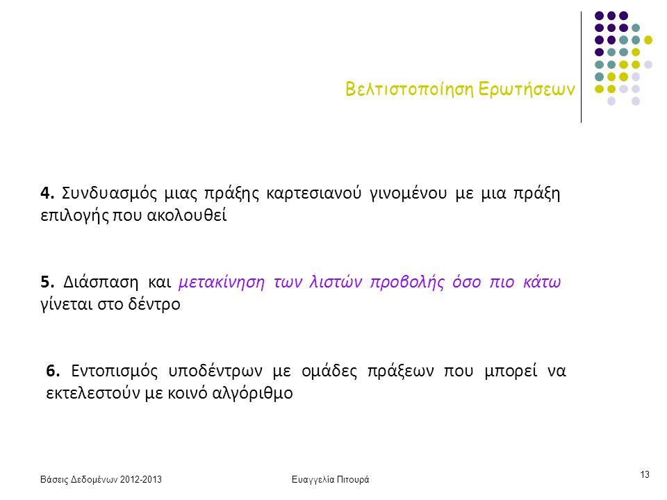 Βάσεις Δεδομένων 2012-2013Ευαγγελία Πιτουρά 13 Βελτιστοποίηση Ερωτήσεων 4.