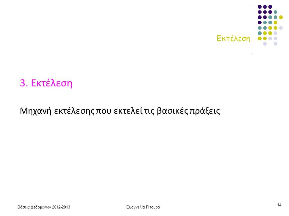 Βάσεις Δεδομένων 2012-2013Ευαγγελία Πιτουρά 14 Εκτέλεση 3.