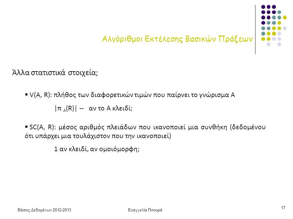 Βάσεις Δεδομένων 2012-2013Ευαγγελία Πιτουρά 17 Αλγόριθμοι Εκτέλεσης Βασικών Πράξεων Άλλα στατιστικά στοιχεία;  V(A, R): πλήθος των διαφορετικών τιμών που παίρνει το γνώρισμα Α |π Α (R)| -- αν το Α κλειδί;  SC(A, R): μέσος αριθμός πλειάδων που ικανοποιεί μια συνθήκη (δεδομένου ότι υπάρχει μια τουλάχιστον που την ικανοποιεί) 1 αν κλειδί, αν ομοιόμορφη;