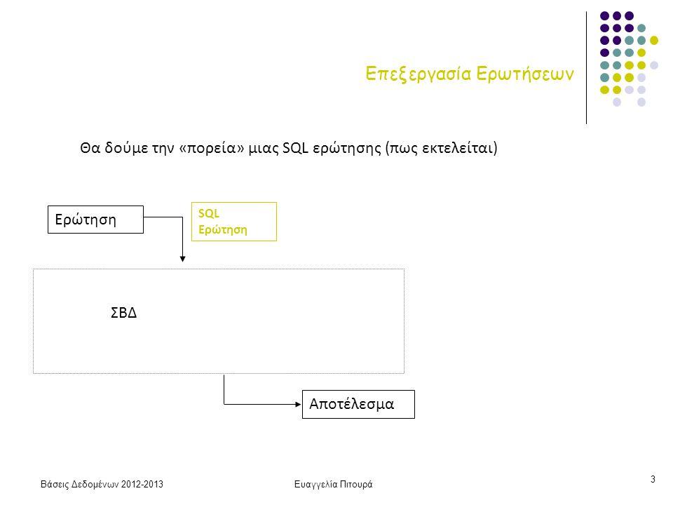 Βάσεις Δεδομένων 2012-2013Ευαγγελία Πιτουρά 24 Επιλογή: Συνθήκη Ισότητας Ε3 Χρήση πρωτεύοντος δεντρικού ευρετηρίου Μπορεί να χρησιμοποιηθεί μόνο αν υπάρχει τέτοιο ευρετήριο στο Α HT i + 1 Εύρεση και μεταφορά της πρώτης HT i +  SC(A, R)/f R  Αν το Α δεν είναι υποψήφιο κλειδί -- ευρετήριο συστάδων b R : αριθμός blocks της σχέσης R SC(A, R): μέσος αριθμός πλειάδων που ικανοποιεί μια συνθήκη f R : παράγοντας ομαδοποίησης HT i : αριθμός επιπέδων (ύψος) ΣΗΜΕΙΩΣΗ: Πρωτεύον ευρετήριο στο Α, σημαίνει ότι οι εγγραφές του αρχείου δεδομένων είναι ταξινομημένες (διατεταγμένες) ως προς Α άρα οι υπόλοιπες εγγραφές με την ίδια τιμή (αν υπάρχουν) βρίσκονται σε γειτονικά blocks του αρχείου δεδομένων Εύρεση και των υπόλοιπων Πρωτεύον ευρετήριο σημαίνει ταξινομημένο αρχείο