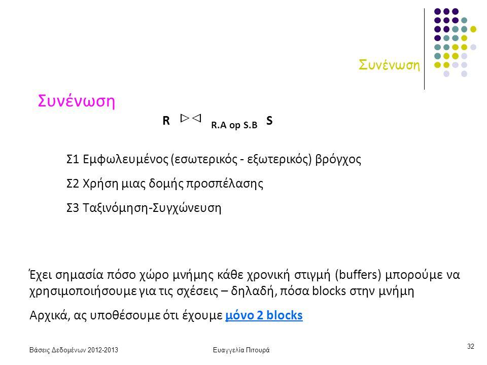 Βάσεις Δεδομένων 2012-2013Ευαγγελία Πιτουρά 32 Συνένωση Σ1 Εμφωλευμένος (εσωτερικός - εξωτερικός) βρόγχος Σ2 Χρήση μιας δομής προσπέλασης Σ3 Ταξινόμηση-Συγχώνευση R R.A op S.B S Έχει σημασία πόσο χώρο μνήμης κάθε χρονική στιγμή (buffers) μπορούμε να χρησιμοποιήσουμε για τις σχέσεις – δηλαδή, πόσα blocks στην μνήμη Αρχικά, ας υποθέσουμε ότι έχουμε μόνο 2 blocks