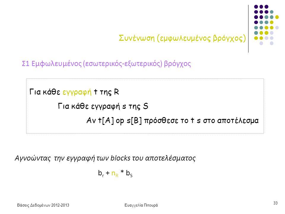 Βάσεις Δεδομένων 2012-2013Ευαγγελία Πιτουρά 33 Συνένωση (εμφωλευμένος βρόγχος) Σ1 Εμφωλευμένος (εσωτερικός-εξωτερικός) βρόγχος Για κάθε εγγραφή t της R Για κάθε εγγραφή s της S Αν t[A] op s[B] πρόσθεσε το t s στο αποτέλεσμα b r + n R * b S Αγνοώντας την εγγραφή των blocks του αποτελέσματος