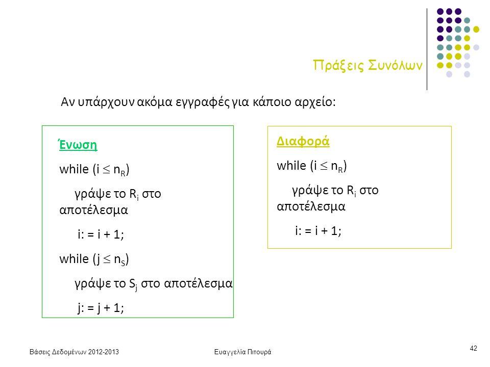 Βάσεις Δεδομένων 2012-2013Ευαγγελία Πιτουρά 42 Πράξεις Συνόλων Ένωση while (i  n R ) γράψε το R i στο αποτέλεσμα i: = i + 1; while (j  n S ) γράψε το S j στο αποτέλεσμα j: = j + 1; Διαφορά while (i  n R ) γράψε το R i στο αποτέλεσμα i: = i + 1; Αν υπάρχουν ακόμα εγγραφές για κάποιο αρχείο: