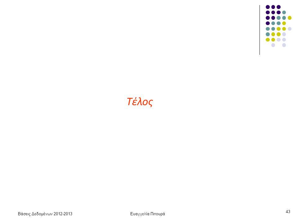 Βάσεις Δεδομένων 2012-2013Ευαγγελία Πιτουρά 43 Τέλος
