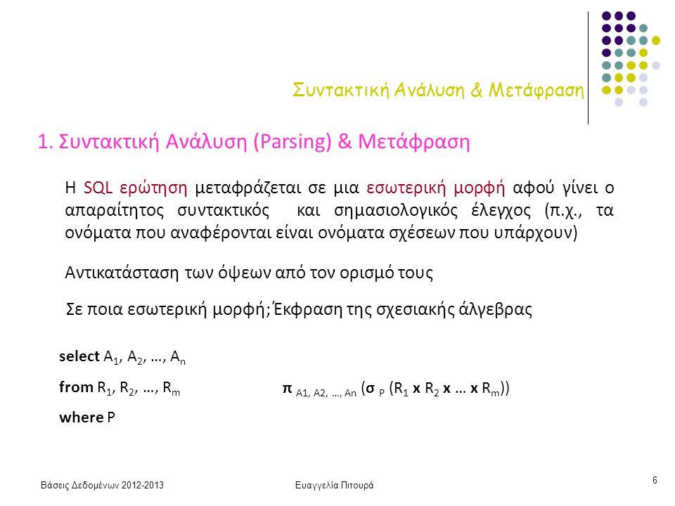 Βάσεις Δεδομένων 2012-2013Ευαγγελία Πιτουρά 7 Βελτιστοποίηση 2.