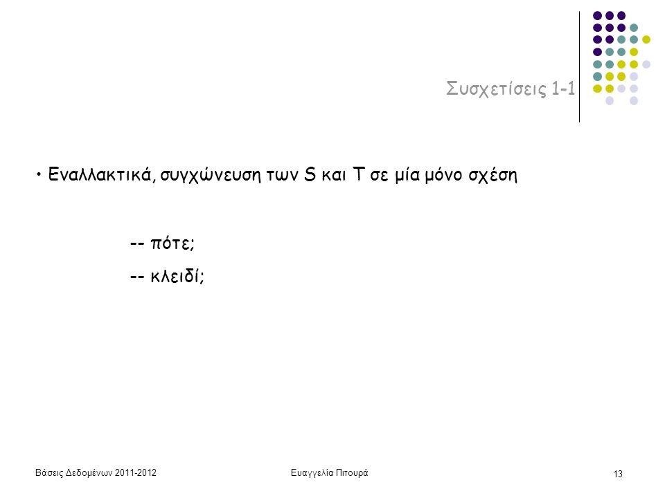 Βάσεις Δεδομένων 2011-2012Ευαγγελία Πιτουρά 13 Συσχετίσεις 1-1 Εναλλακτικά, συγχώνευση των S και T σε μία μόνο σχέση -- πότε; -- κλειδί;