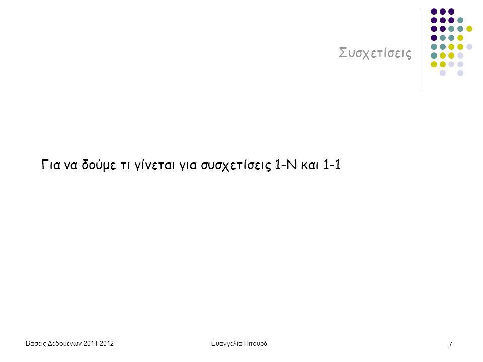 Βάσεις Δεδομένων 2011-2012Ευαγγελία Πιτουρά 7 Συσχετίσεις Για να δούμε τι γίνεται για συσχετίσεις 1-N και 1-1
