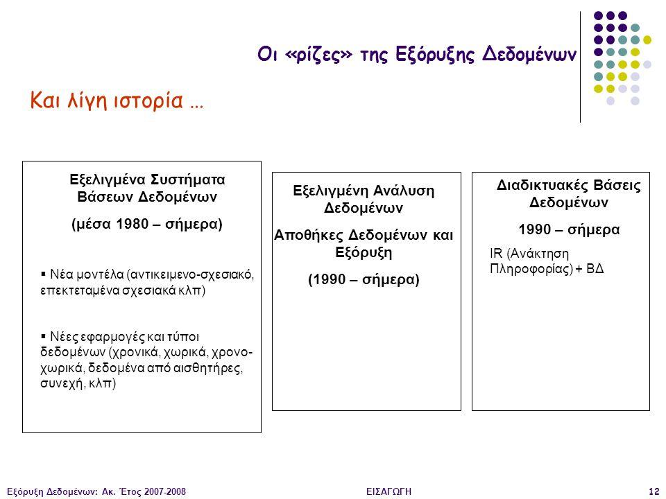 Εξόρυξη Δεδομένων: Ακ. Έτος 2007-2008ΕΙΣΑΓΩΓΗ12 Οι «ρίζες» της Εξόρυξης Δεδομένων Και λίγη ιστορία … Εξελιγμένα Συστήματα Βάσεων Δεδομένων (μέσα 1980
