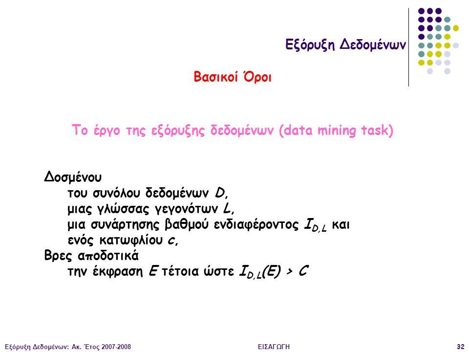 Εξόρυξη Δεδομένων: Ακ. Έτος 2007-2008ΕΙΣΑΓΩΓΗ32 Εξόρυξη Δεδομένων Βασικοί Όροι Το έργο της εξόρυξης δεδομένων (data mining task) Δοσμένου του συνόλου