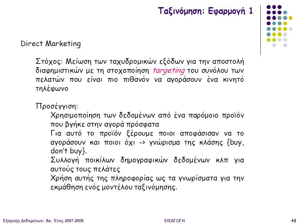 Εξόρυξη Δεδομένων: Ακ. Έτος 2007-2008ΕΙΣΑΓΩΓΗ43 Ταξινόμηση: Εφαρμογή 1 Direct Marketing Στόχος: Μείωση των ταχυδρομικών εξόδων για την αποστολή διαφημ