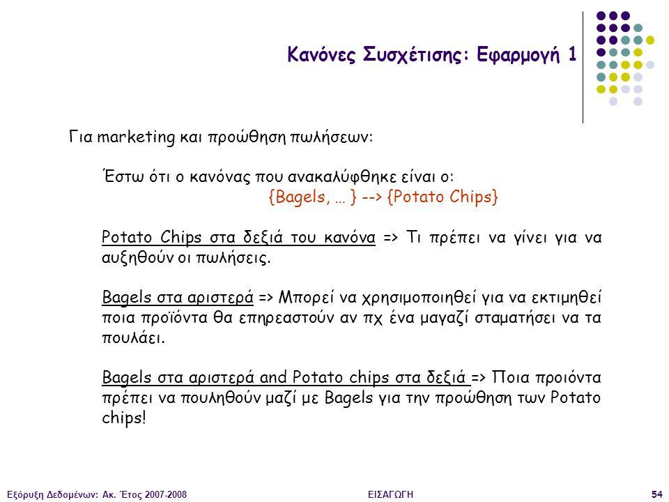 Εξόρυξη Δεδομένων: Ακ. Έτος 2007-2008ΕΙΣΑΓΩΓΗ54 Κανόνες Συσχέτισης: Εφαρμογή 1 Για marketing και προώθηση πωλήσεων: Έστω ότι ο κανόνας που ανακαλύφθηκ