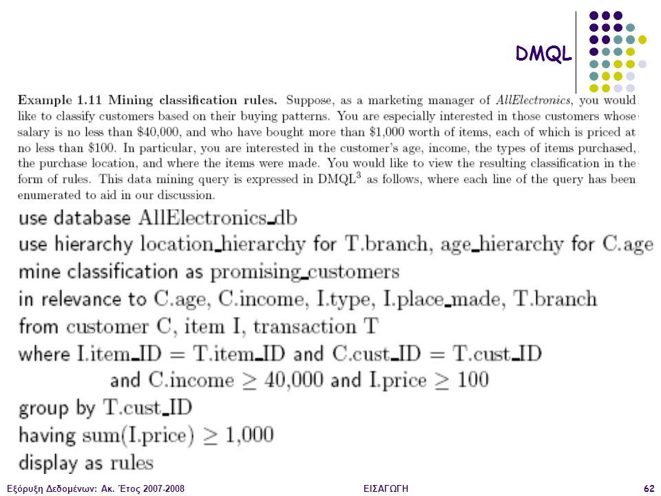 Εξόρυξη Δεδομένων: Ακ. Έτος 2007-2008ΕΙΣΑΓΩΓΗ62 DMQL