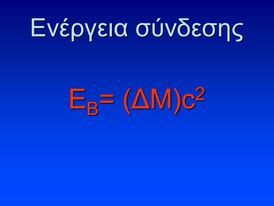 Ενέργεια σύνδεσης Ε Β = (ΔΜ)c 2