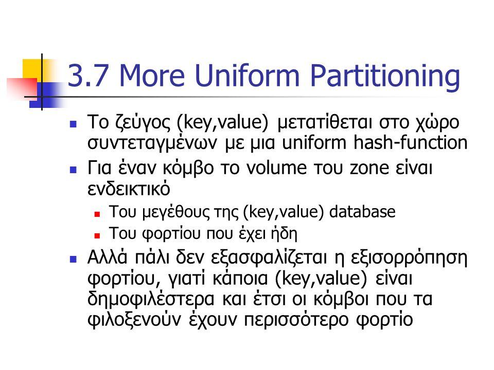 Το ζεύγος (key,value) μετατίθεται στο χώρο συντεταγμένων με μια uniform hash-function Για έναν κόμβο το volume του zone είναι ενδεικτικό Του μεγέθους της (key,value) database Του φορτίου που έχει ήδη Αλλά πάλι δεν εξασφαλίζεται η εξισορρόπηση φορτίου, γιατί κάποια (key,value) είναι δημοφιλέστερα και έτσι οι κόμβοι που τα φιλοξενούν έχουν περισσότερο φορτίο 3.7 More Uniform Partitioning