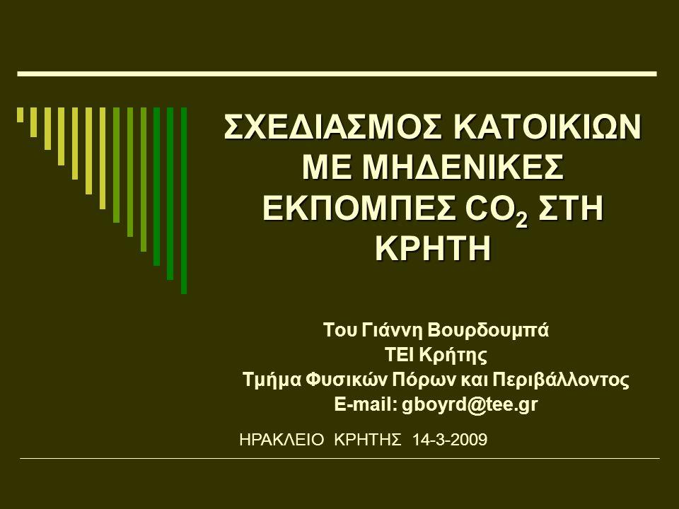 ΣΧΕΔΙΑΣΜΟΣ ΚΑΤΟΙΚΙΩΝ ΜΕ ΜΗΔΕΝΙΚΕΣ ΕΚΠΟΜΠΕΣ CO 2 ΣΤΗ ΚΡΗΤΗ Του Γιάννη Βουρδουμπά ΤΕΙ Κρήτης Τμήμα Φυσικών Πόρων και Περιβάλλοντος E-mail: gboyrd@tee.gr