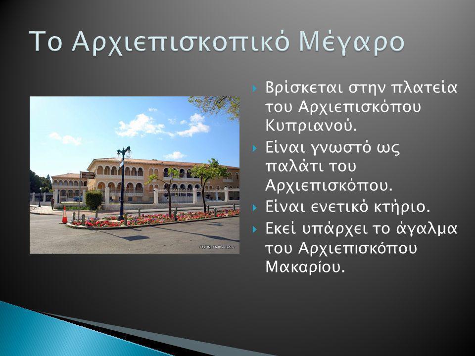  Βρίσκεται στην πλατεία του Αρχιεπισκόπου Κυπριανού.  Είναι γνωστό ως παλάτι του Αρχιεπισκόπου.  Είναι ενετικό κτήριο.  Εκεί υπάρχει το άγαλμα του
