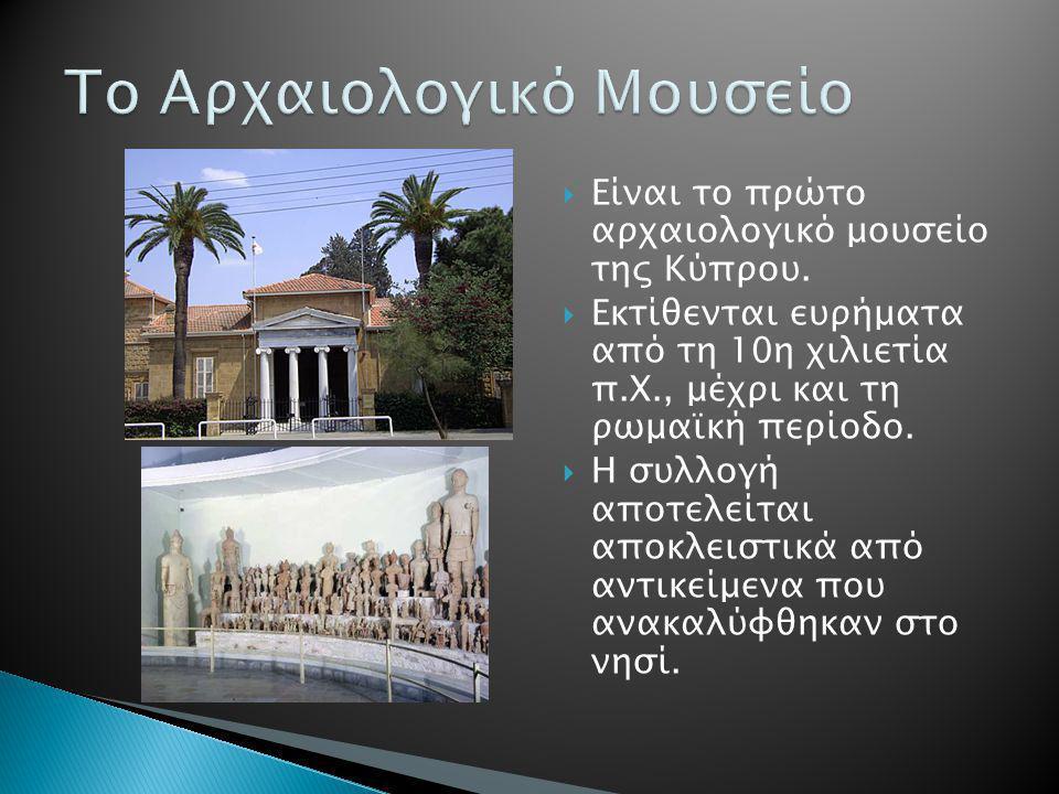  Είναι το πρώτο αρχαιολογικό μουσείο της Κύπρου.  Εκτίθενται ευρήματα από τη 10η χιλιετία π.Χ., μέχρι και τη ρωμαϊκή περίοδο.  Η συλλογή αποτελείτα