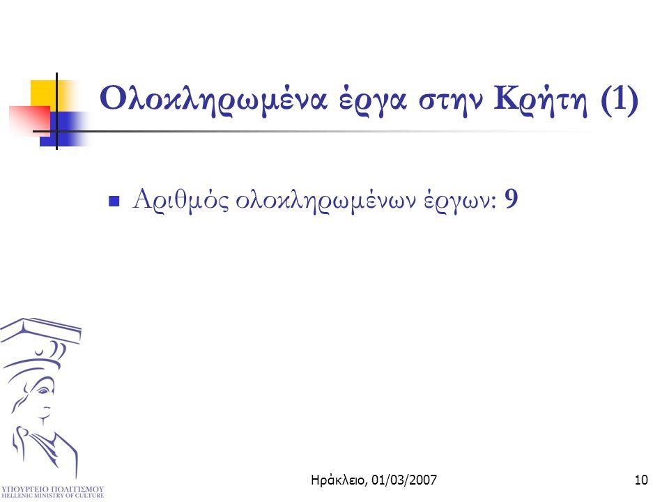 Ηράκλειο, 01/03/200710 Ολοκληρωμένα έργα στην Κρήτη (1) Αριθμός ολοκληρωμένων έργων: 9