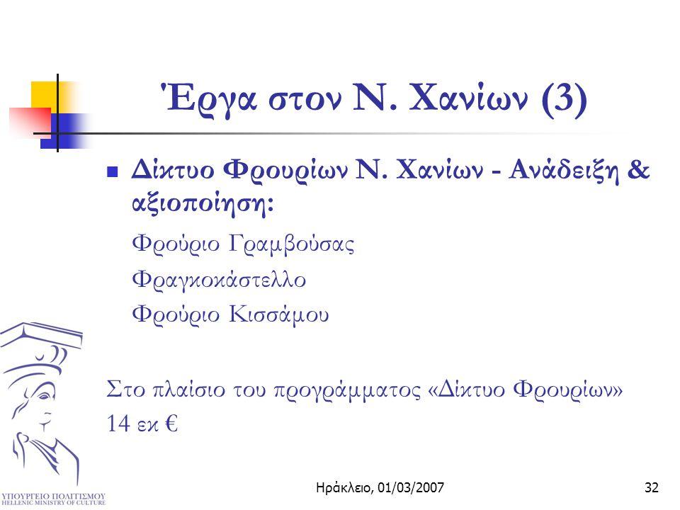 Ηράκλειο, 01/03/200732 Έργα στον Ν. Χανίων (3) Δίκτυο Φρουρίων Ν.