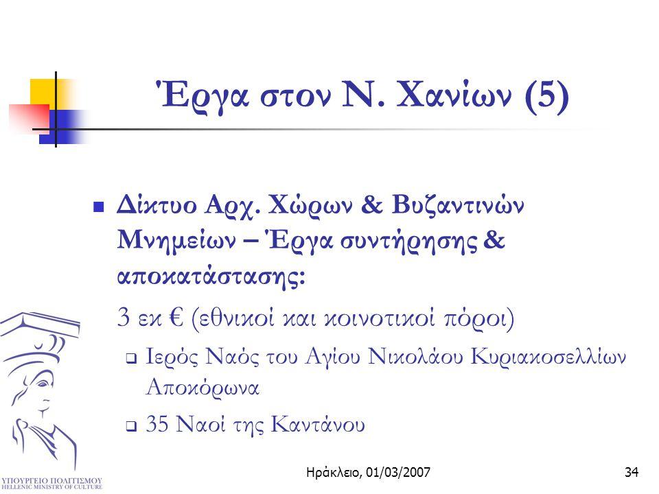 Ηράκλειο, 01/03/200734 Έργα στον Ν. Χανίων (5) Δίκτυο Αρχ.