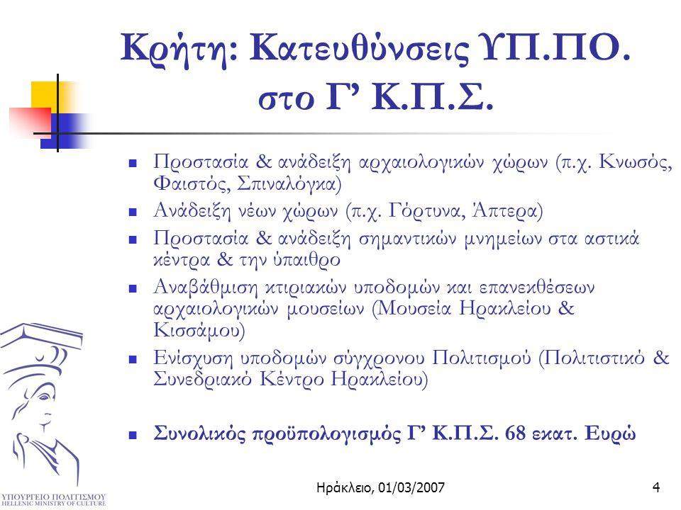 Ηράκλειο, 01/03/20074 Κρήτη: Κατευθύνσεις ΥΠ.ΠΟ. στο Γ' Κ.Π.Σ.