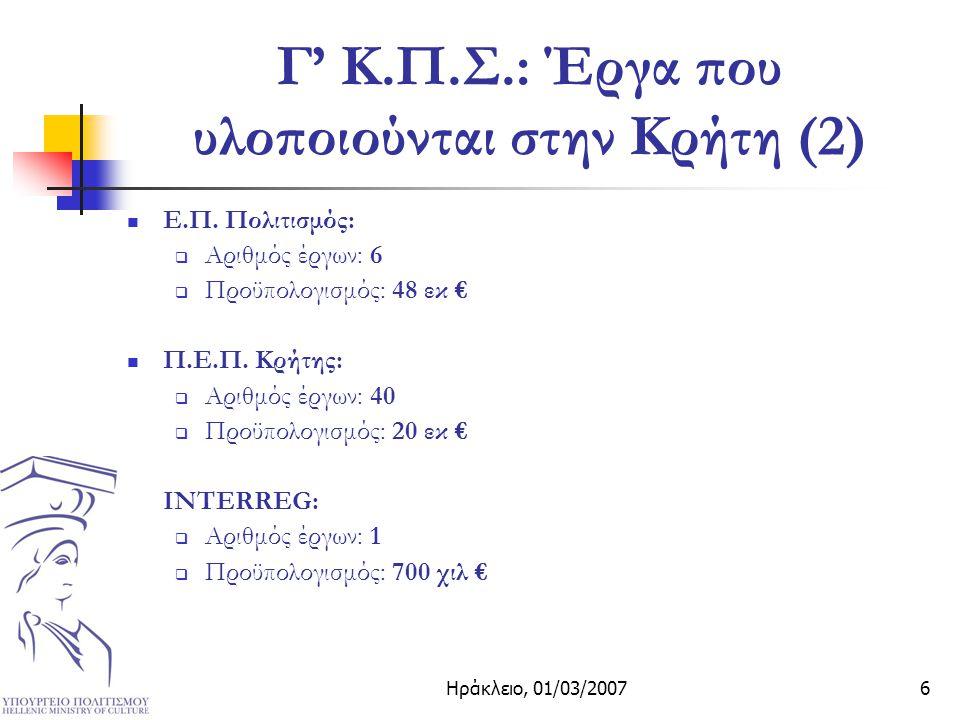 Ηράκλειο, 01/03/20076 Γ' Κ.Π.Σ.: Έργα που υλοποιούνται στην Κρήτη (2) Ε.Π.