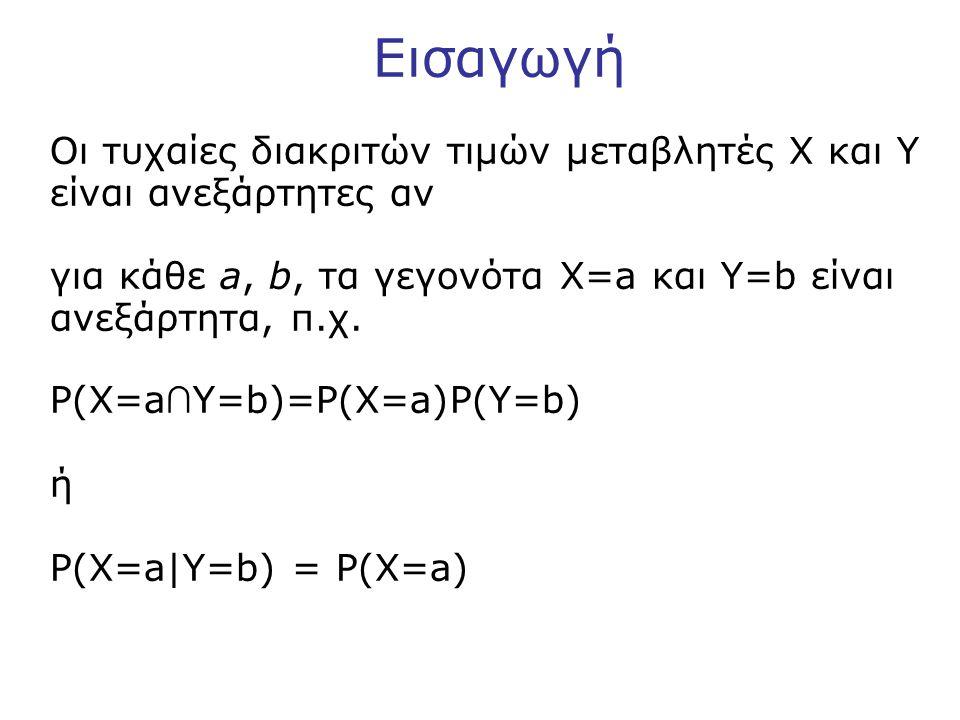 Εισαγωγή Οι τυχαίες διακριτών τιμών μεταβλητές X και Y είναι ανεξάρτητες αν για κάθε a, b, τα γεγονότα X=a και Y=b είναι ανεξάρτητα, π.χ.