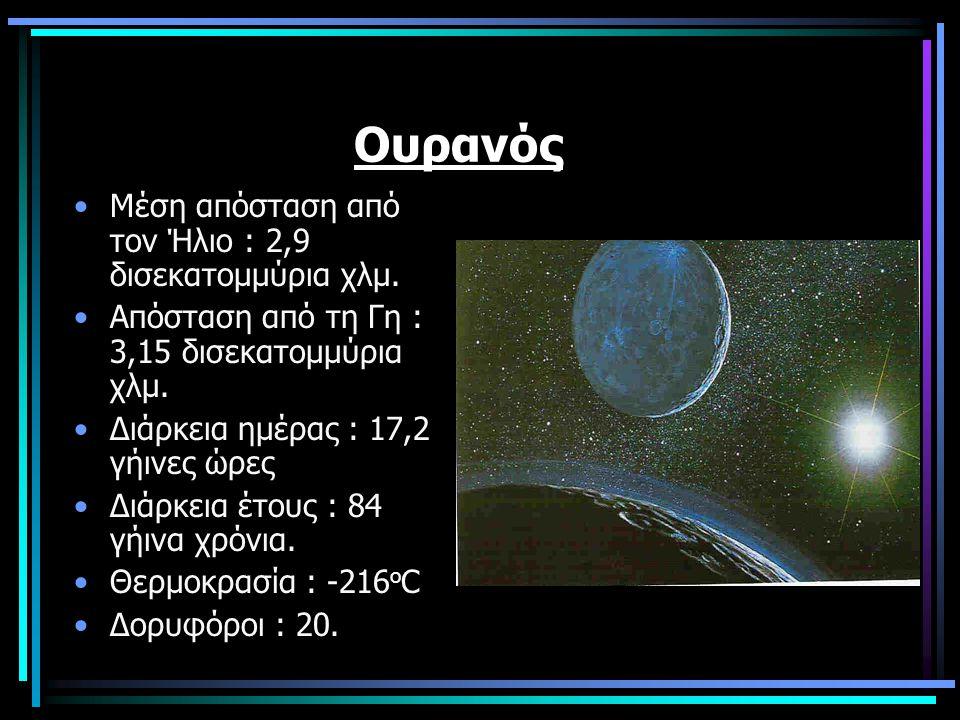 Ουρανός Μέση απόσταση από τον Ήλιο : 2,9 δισεκατομμύρια χλμ. Απόσταση από τη Γη : 3,15 δισεκατομμύρια χλμ. Διάρκεια ημέρας : 17,2 γήινες ώρες Διάρκεια