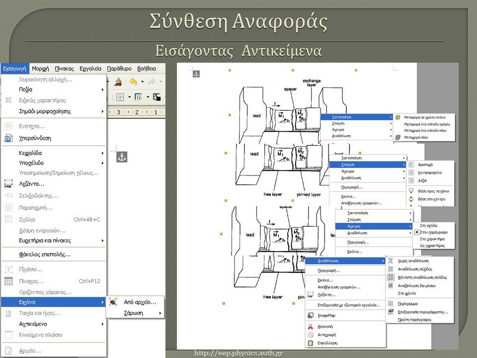http://eep.physics.auth.gr Σύνθεση Αναφοράς Εισάγοντας Αντικείμενα